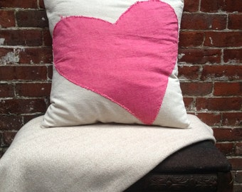 "Chambray Heart Pillow Cover, 20""x20"""