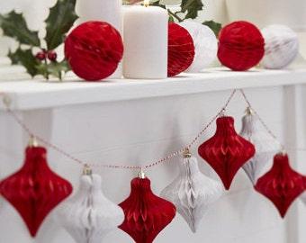 Christmas | Christmas Garland | Red and White Honeycomb Christmas Bauble Garland | Christmas Decorations | 1.5m Long