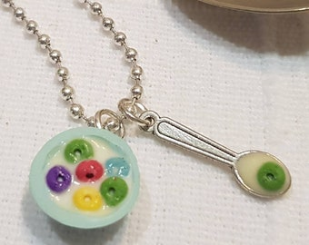 Froot Loops Pendant Necklace Polymer Clay Miniature Food Jewelry Jewellery