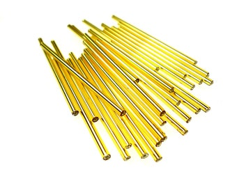 Extra long 50mm lt golden silver lined glass bugle beads
