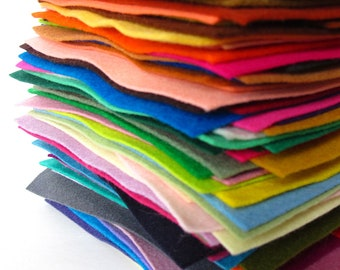 Wool Felt, Color Assortment, Pure Wool, 100% Merino, Felt Sheets, Felt Set, Wool Fabric, Applique, Handwork, Needlework, Gift Set, Bulk Felt