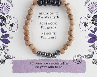 """Black Onyx """"Be Strong"""" Bracelet   Be Your Own Hero - Uplifting, Inspirational, Empowering GIFT to Give Encouragement, Support, Strengthen"""