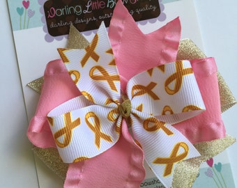 Childhood Cancer Awareness Hairbow - Wear Gold for Childhood Cancer Awareness - pink and glittery gold with optional headband
