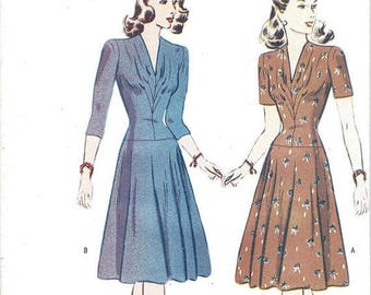 Butterick Retro 1940s WWII era semi-fitted drop-waist dress, reissued pattern uncut and factory folded Out of Print