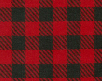 RESTOCKED!!  Red and Black Buffalo Check FLANNEL Fabric by the yard and by the half yard