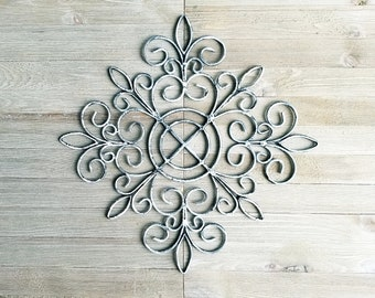 Iron Wall Decor,  Fleur De Lis Wall Decor, White and Black, Shabby Chic Home Accent