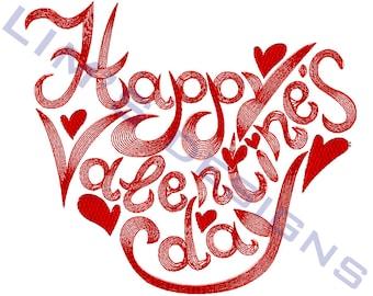 """Happy Valentine's Day machine embroidery design- 3 sizes 4x4"""", 5x7"""", 6x10"""""""