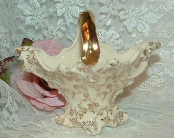 SALE......Antique Limoges Bone China Basket with Gold Handle and Transfer ware flowers