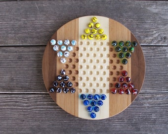 Hand crafted chinese checkers game board