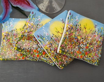 Single Resin Top Ceramic Coaster with Sunny Days Art Print.