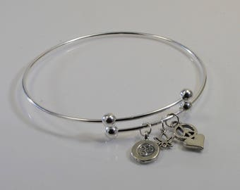 Yoga Charm Sterling Silver Expandable Bangle