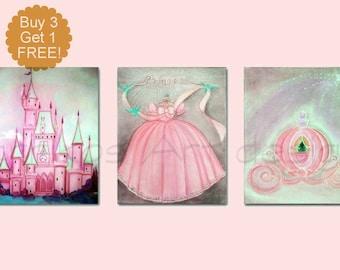 Princess Nursery Decor, Girl Nursery Art, Baby girl nursery, Cinderella Art, SET 3, Girls room Decor, Princess Wall Art, Girl Nursery Decor