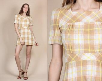 70s Plaid Mini Dress - XS // Short Sleeve Mod A Line Minidress
