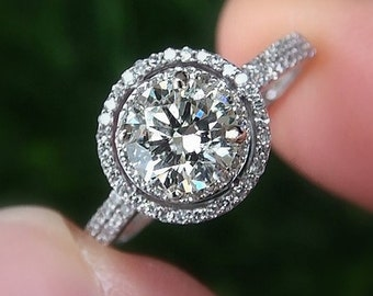 Diamond Engagement Ring -14K white gold - 1.25 carat Round - Double Halo - Pave - Antique Style - Weddings- Luxury - Bp019