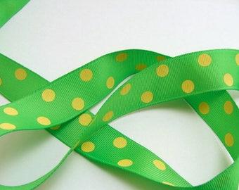 """SOLDES - 7/8"""" en pointillés Grosgrain Ribbon - vert pomme à pois jaunes canaris - 50 yd bobine"""