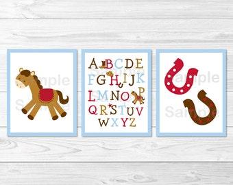 Cute Cowboy Pony Nursery Wall Art / Cowboy Nursery Wall Art / Alphabet Nursery Wall Art / Pony Nursery Wall Art / Baby Boy / PRINTABLE A284