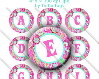 Pink Paisley Alphabet Bottle Cap Images Digital Collage Set 1 Inch Circle Digi - Instant Download - BC551