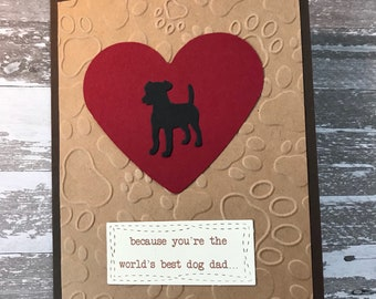 Dog, Dad, Happy, Father's Day, Paws, Give Thanks, Masculine, Men, Greeting Card, Stamped, Handmade