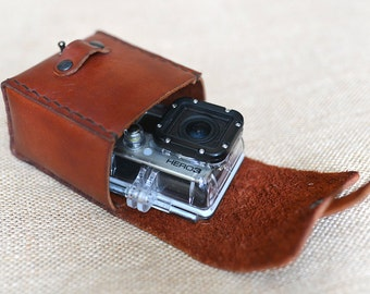 Bag for GoPro brown ,handmade leather bag,Genue leather,Natural colour  ,goprohero 3/3+/4
