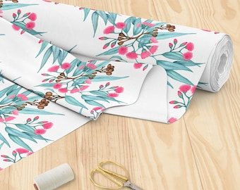 Australian Botanical Fabric Eucalyptus Leaves and Gumnuts in Bright Pink, Turquoise on White Printed Cotton Fabric YARDAGE | Ships from USA