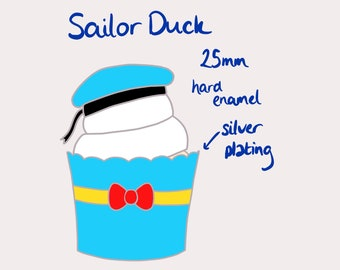 Sailor Duck Cupcake Enamel Pin - PRE ORDER
