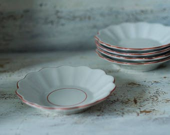 Vintage white saucers set of rustic plates for serving tea-party, dessert plate, porcelain plate set, appetizers set, ceramic plate set