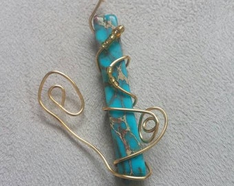 Wire-wrapped Magnesite Pendant