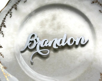 Silver Calligraphy Place Cards, Carolyna Font, Laser Cut 3D, Wedding Plate Seating Cards