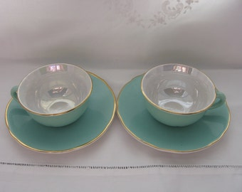 Mid - Century Pair of Coffee / Tea Cups and Saucers for Two Vintage French Lunéville Green Irridescent Gold Rim