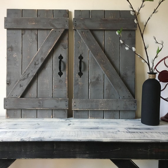 RUSTIC GALLERY WALL Rustic Shutter Fixer Upper Style Wood Mini Barn Door Wall Hanging Decor Farmhouse Chic 1