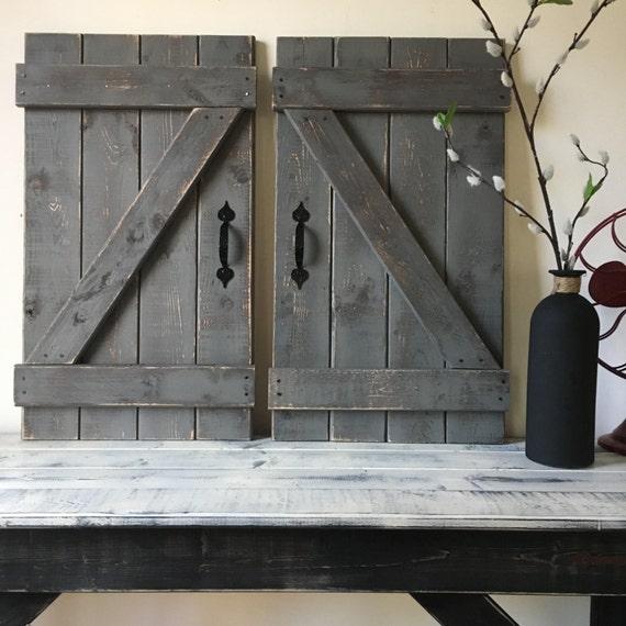 RUSTIC GALLERY WALL Rustic Shutter Fixer Upper Style Wood Mini Barn Door Wall Hanging Decor Farmhouse Chic 1