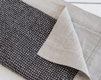 Handamade bath mat made of linen in black and natural gray colors