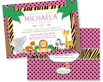 Printable Zoo Animal Birthday Invitation for Girl 5x7 with Two Sides - Customized DIGITAL FILE for Printing