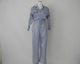 FREE usa SHIPPING Vintage women's pastel purple jumpsuit /jumper coverall/  elastic waist/ 1980s flashy retro metallic satin size S/M