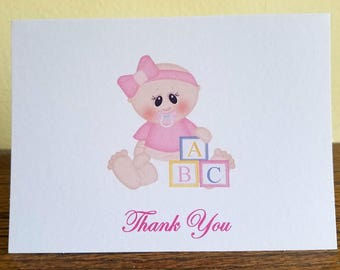 Baby Shower Thank You Cards, Baby Girl Thank You Cards, Blank Cards, Set of 10, Baby Girl Cards
