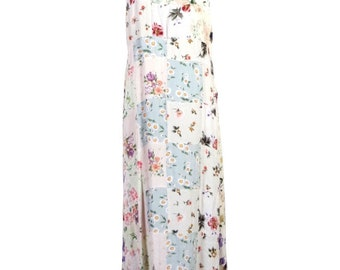 vtg 80s Carol Anderson 100% Rayon Patchwork Floral Maxi Dress GRUNGE india M