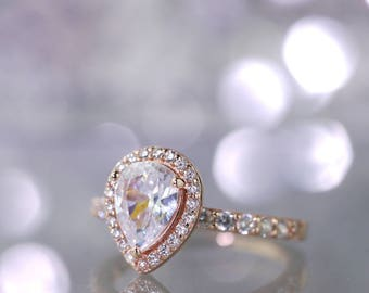 Rose Gold Pear Cut Engagement Ring, Sterling Silver, Simulated Diamonds, Statement Ring, Bridal, Promise Ring, Solitaire, Vermeil, Dewdrop