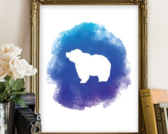 Bear Printable, Animal Printable, Nursery Wall Art, Nursery Poster, Nursery Printable Art, Home Decor, Bear Watercolor Art, Animal Art 121