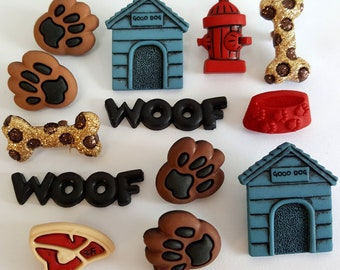 DOG STUFF - Pup Puppy Doggy Woof Bone Steak Paw Kennel Dress It Up Craft Buttons