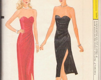 Vintage Vogue Sewing Pattern, Strapless Evening Gown with Side Slit, Size 8, Bust 31 Inches