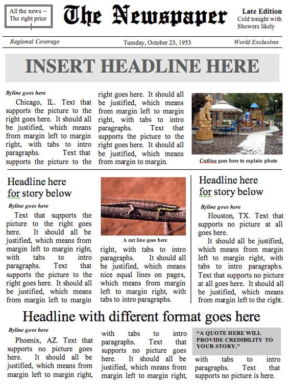 front page newspaper template ms word document