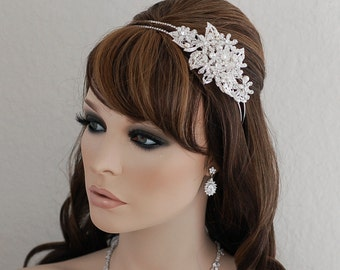 Bridal Crystal Headband Wreath Headpiece Bride Hair Accessories Wedding Accessory Jewelry Piece Weddings Head Band Piece Brides Hairpiece