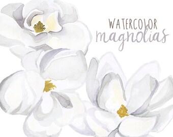 Watercolor Magnolias, Floral Clipart, Floral Magnolia Clip Art, Magnolias Clipart, White Flowers Clipart, Wedding Floral Clipart, Magnolia