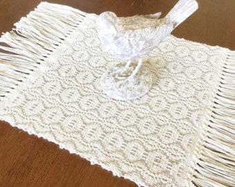 dresser scarf - farmhouse table runner - dresser scarves - farmhouse decor - handwoven table linen - tan runner - country table decor