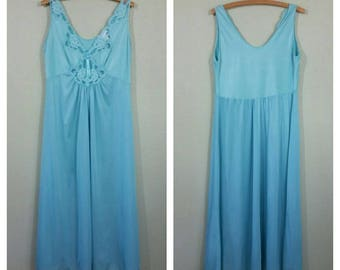 Vintage Nightgown by Adonna, blue green, 38 Adonna