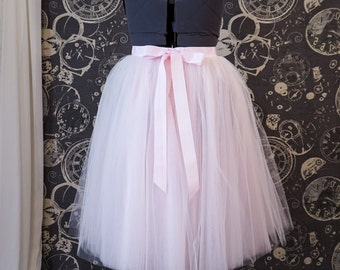 """Ready to ship! Blush Pink Tulle Skirt - 47""""waist, Tea Length Plus Size Tutu with Ribbon Waist and Ties"""