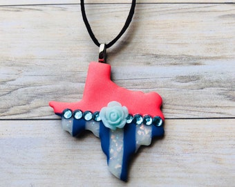 Texas Jewelry, Texas Polymer Clay Flower Pendant Necklace-Coral/Blue/White