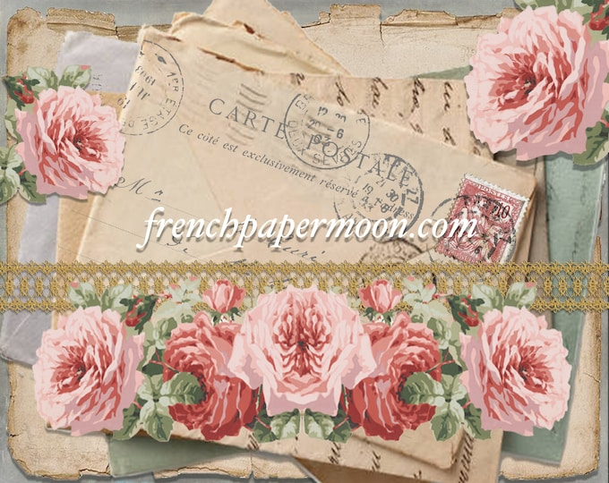 Printable Shabby French Letter Stack, Antique Roses, French Postcards, French Script, French Pillow, Large and small images