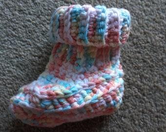 Multicoloured cotton baby booties