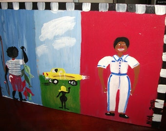 Prison Art -Henry- original folk art painting by NitA Marked 1/2 off sale